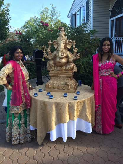 Picture of Bibi (left) and the author (right) wearing traditional Indian garb attending a Hindu wedding. Bibi is wearing a lehenga and the author is wearing a saree.