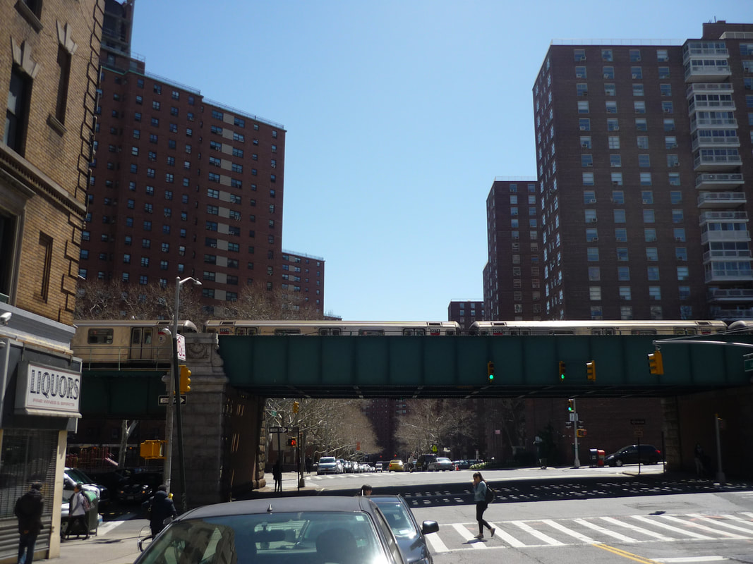 The view from the west side of Broadway: Morningside Gardens on the right, Grant Houses on the left.