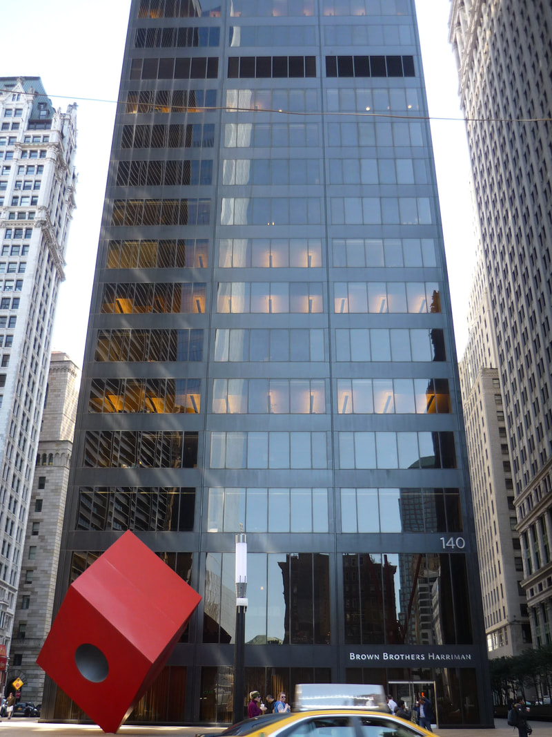 140 Broadway with its 1961 Zoning Law-enabled plaza and public art by Isamu Noguchi.