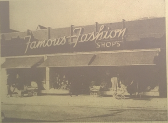 "Famous Fashion Shops Storefront from ""Famous Fashion Shops: The American Dream Come True,"" Queens Post, June 1, 1950."