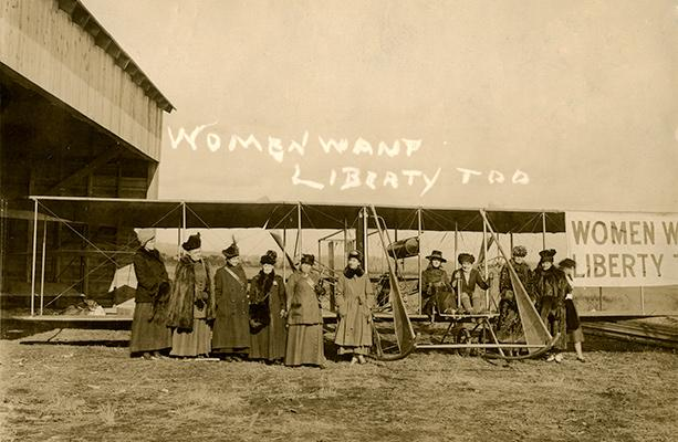 "Unidentified photographer, Women Want Liberty Airplane Group (""Suffbird""), 1916. New-York Historical Society"