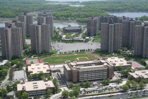 Aerial View of the Northeast Bronx Educational Park surrounded by Co-op City.