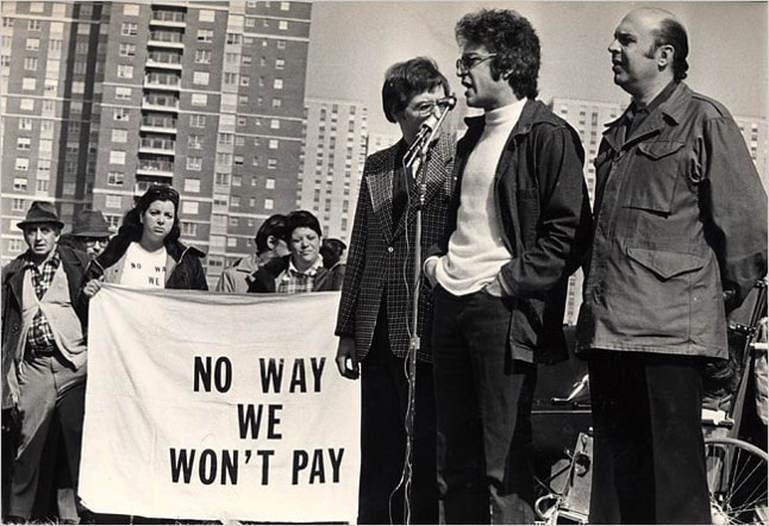 Charles Rosen Addressing a Rent Strike Rally, February 29, 1976. Credit: Tyrone Dukes/New York Times.
