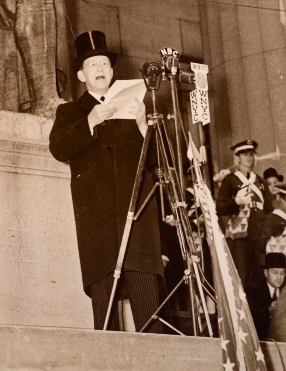 On April 30, 1939, the sesquicentennial of George Washington's inauguration as president in New York City, George McAneny stood on the steps of Federal Hall to proclaim it a national historic site, one of the first urban sites to be so designated.