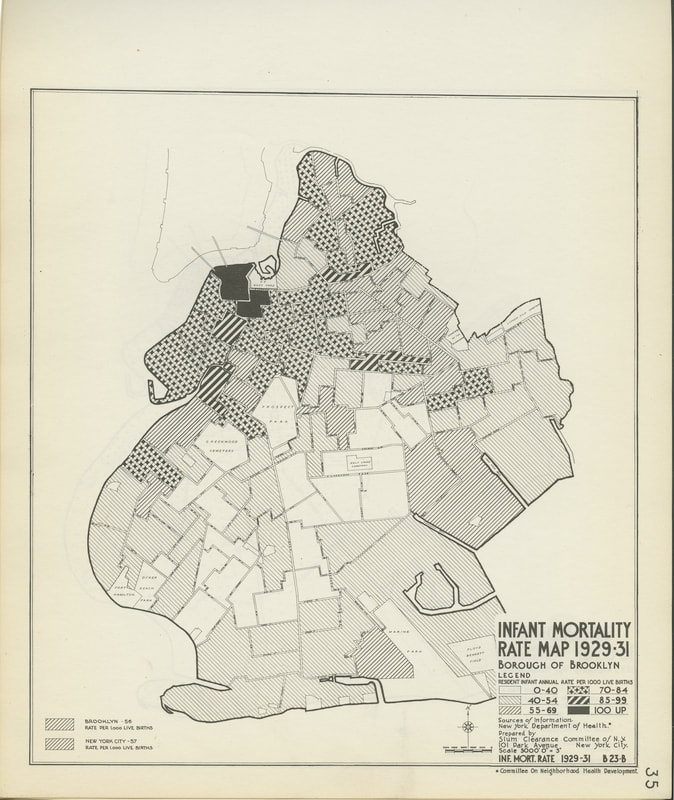 Infant Mortality Rates, 1929–1931, Atlas of the Slum Clearance Committee of New York, 1933–1934, NYC-1933-1934.A; Brooklyn Historical Society.