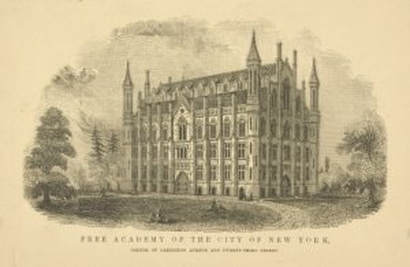 """The Miriam and Ira D. Wallach Division of Art, Print Collection, The New York Public Library. """"Free Academy of the City of New York, corner of Lexington Avenue and Twenty-Third Street. Exterior view"""""""