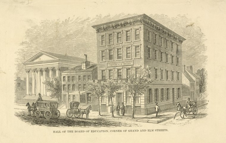 """The Miriam and Ira D. Wallach Division of Art, Prints and Photographs: Print Collection, The New York Public Library. """"Public schools. Hall of the Board of Education, Elm St."""""""