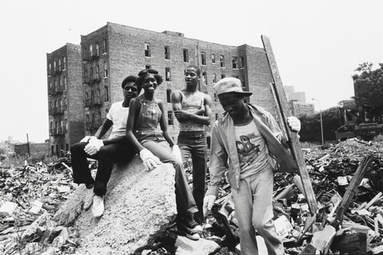 Teenagers cleaning up rubble in order to create a neighborhood garden. 1976-82. Credit: Mel Rosenthal