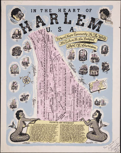 """Bernie Robynson, """"In The Heart of Harlem,"""" 1953. Yale Beineke Rare Book & Manuscript Library. Used under fair use. https://brbl-dl.library.yale.edu/vufind/Record/3520606"""