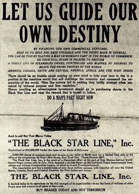 Advertisement for shares in the Black Star Line