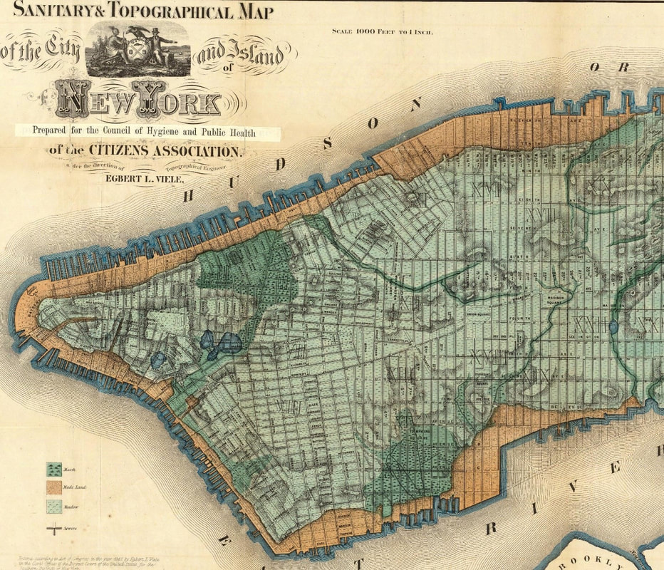 Figure 1: The topographical map of Manhattan created by Egbert Viele in 1865 shows the expansion of Manhattan through landfill. Source: https://upload.wikimedia.org/wikipedia/commons/a/a3/Viele_Map_1865.jpg.