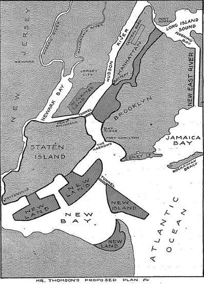 Figure 2: Kennard Thomson's vision of an expanded Manhattan, in 1913. Source: New York Times, August 31, 1913, Magazine Section, page 1.