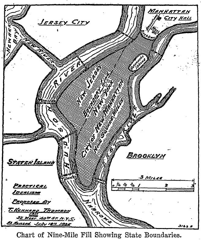 Figure 3: Kennard Thomson's expanded vision of an expanded Manhattan, 1926. Source: New York Times, August 2, 1926, page 6.