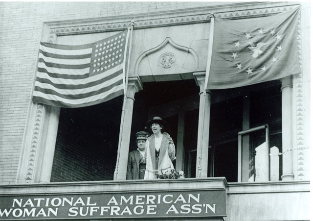 Jeannette Rankin (right) at National American Woman Suffrage Association headquarters