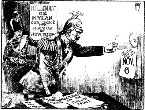 """""""The New Western Front"""", a Sunday New York Times cartoon of November 4th, 1917, implying that German enemy rulers favored Hillquit and Hylan. The caption reads, Crown Prince: """"Any more victories, Papa?"""" - Kaiser (Wilhelm II): """"I can't tell until Tuesday."""""""