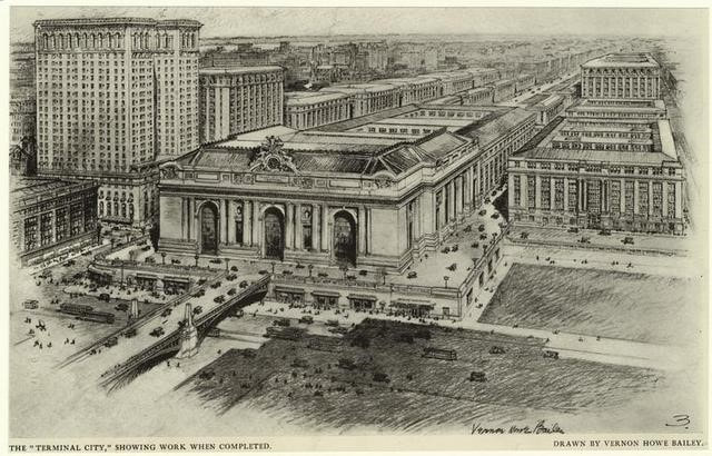"""Plan for Grand Central Station and """"Terminal City."""" Source: https://untappedcities-wpengine.netdna-ssl.com/wp-content/uploads/2013/01/terminal-city1.jpg"""