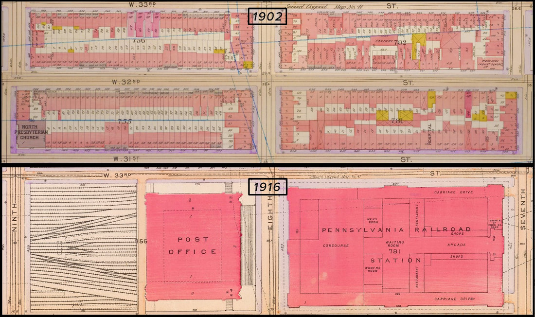Penn Station area before and after construction. Source: Atlases from NYPL digital collections. Image created by William Barr.