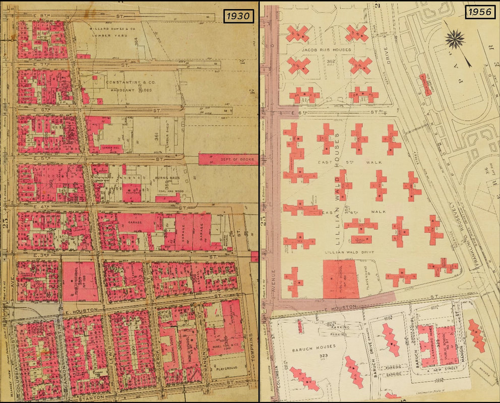 Area of Lower East Side before and after the constructing of the Lillian Wald Houses. Source: Atlases from NYPL digital collections. Image created by William Barr.