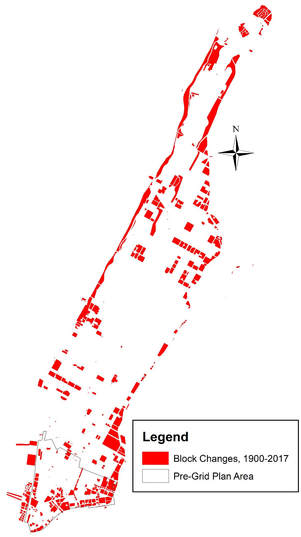 Changes in Manhattan from 1900 to 2017. The red polygons are blocks that have had their configurations changed in the interval, including landfill around the shorelines. The pre-grid plan area changes are also included. Source: Map by Eon Kim.