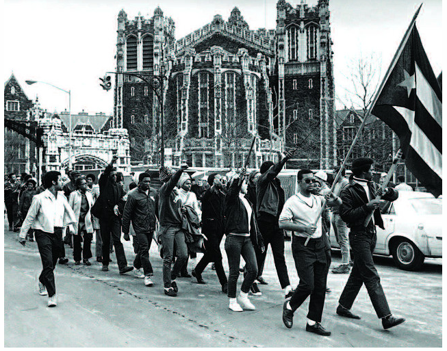 Black and Puerto Rican students march at City College in February 1969