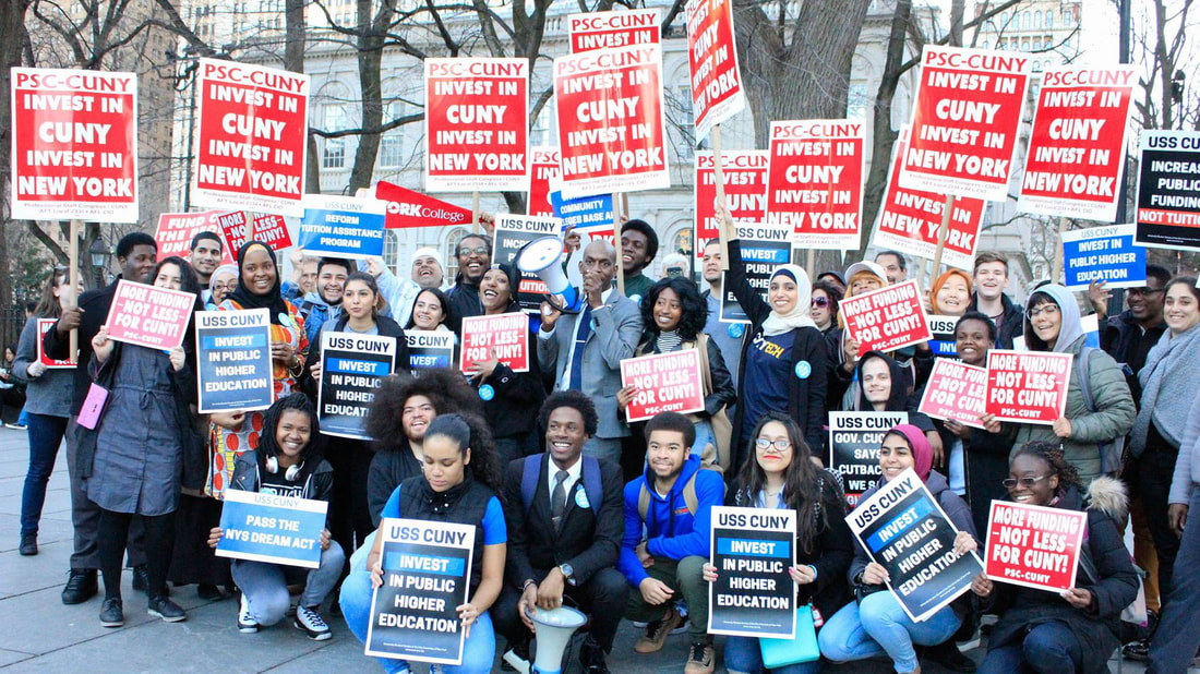 Students and faculty protest together for investment in CUNY in March 2017
