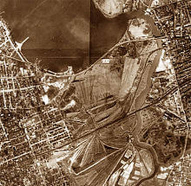 Aerial view of the Corona Ash Dumps, circa the early 1920s