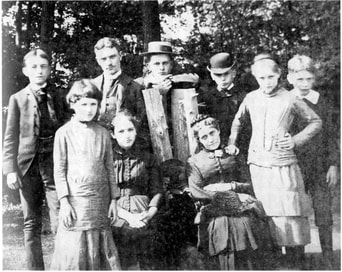 The 'Astor orphans' and their cousin Mary Marshall at the family estate, Rokeby. From left: Willie, Alida, Archie, Elizabeth, Wintie, Mary Marshall, Lewis, Margaret and Bob. (Photo c. 1884)