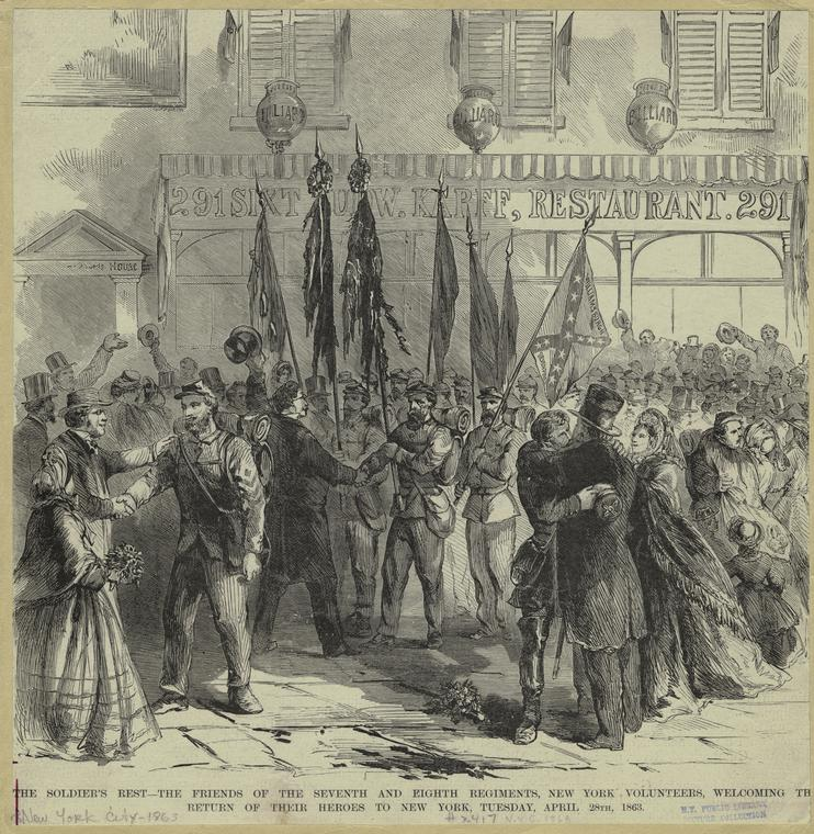 """""""The soldier's rest : The friends of the Seventh and Eighth Regiments, New York volunteers, welcoming th[e] return of their heroes to New York, Tuesday, April 28th, 1863."""" New York Public Library Digital Collections, Art and Picture Collection."""