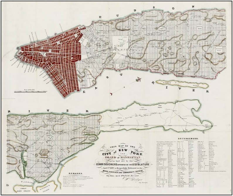 Grid plan of 1811. Red section is old city established before the grid plan.  Samuel J. Willis and D. T. Valentine, Manual of the Corporation of City of New York for 1853 (1852).