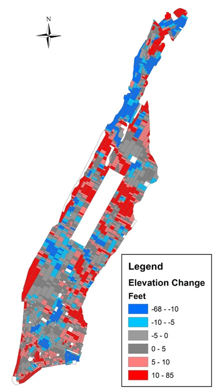 Average changes in elevation between 1609 and 2012 (excluding the current-day parks). Source: Map by Jason Barr; 1609 elevation data is courtesy of Eric Sanderson, the Mannahatta Project, Wildlife Conservation Society.