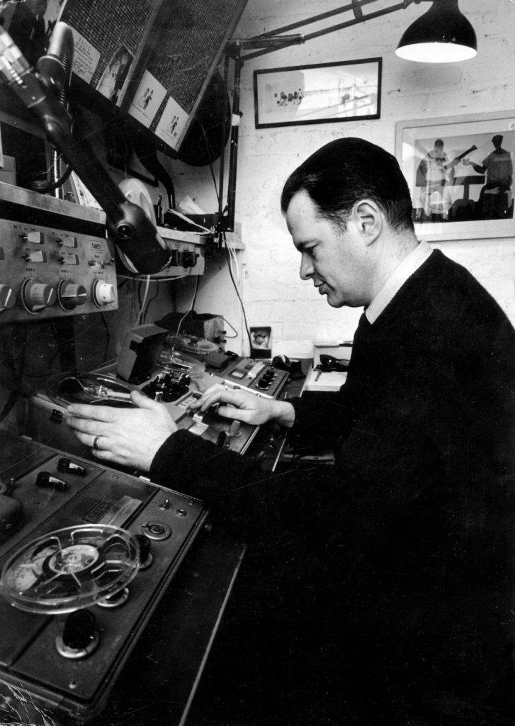 Tony at the recording console of his basement studio (1960s)