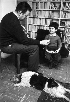"""Tony records young Darryl Cherney, with dog Tina (the subject of Folkways record """"A Dog's Life"""")."""
