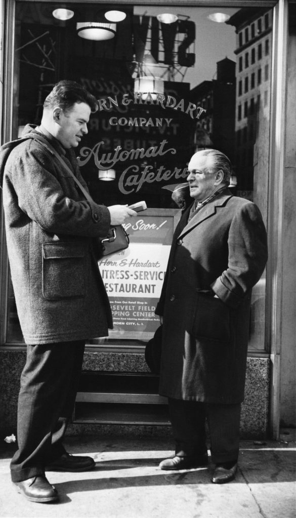 """Tony records New York Mayor Abe Beame. A conversation on West 57th Street, outside the old Horn & Hardart """"Automat."""" Photo by David Gahr."""