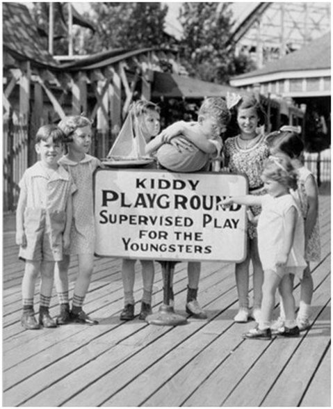 """""""Children with Kiddyland Sign,"""" Photograph. (n.d.). Playland Photograph Collection, Westchester County Archives (Jul. 2008)"""
