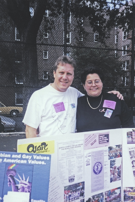 """Queens Pride Parade co-founders Daniel Dromm and Maritza Martinez at Travers Park in Jackson Heights at """"Coming Out against Violence Day,"""" 1996. Courtesy Daniel Dromm Photograph Collection, LaGuardia and Wagner Archives, LAGCC, CUNY"""