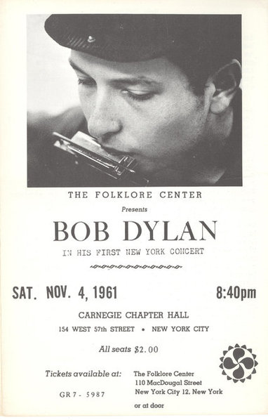 Flier for Bob Dylan's first official solo concert, on November 4, 1961, at Carnegie Chapter Hall. Organized by the Folklore Center's Izzy Young, the event was attended by only 53 and went largely unnoticed. Courtesy Ronald D. Cohen.