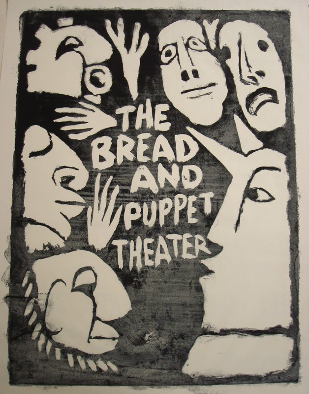 An early poster for Bread and Puppet Theater (Bread and Puppet Theater Collection, University of Vermont Libraries Special Collections).