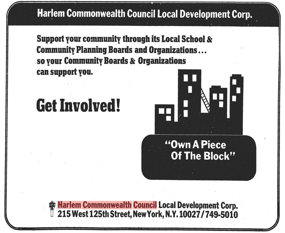 Advertisement from the Harlem Commonwealth Council, The New York Amsterdam News, June 3, 1972