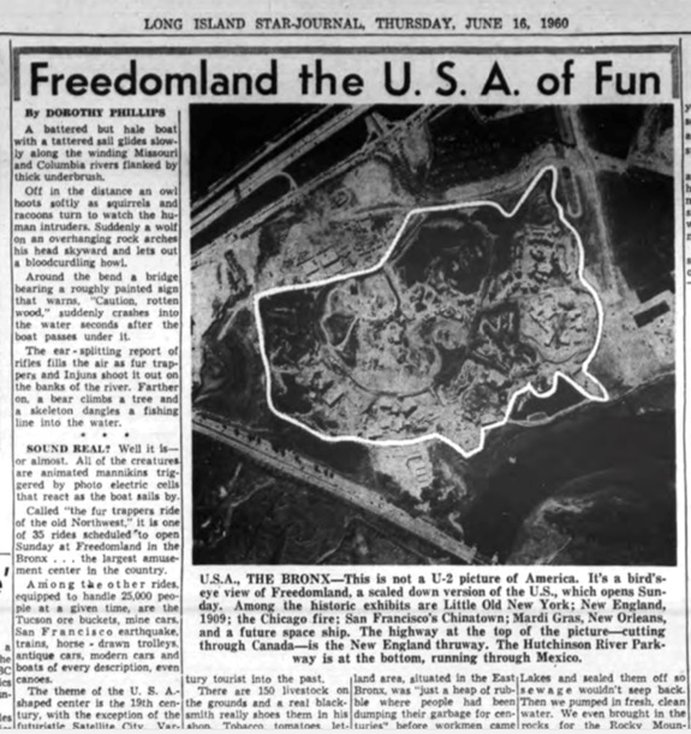 Long Island Star Journal, June 16, 1960, pg. 23. From above, Freedomland appeared in the shape of the continental United States.