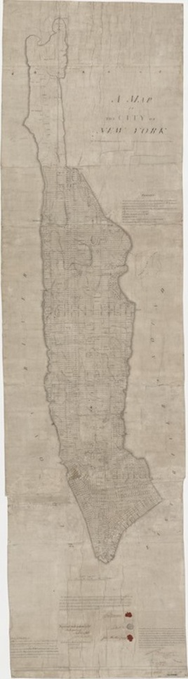 John Randel, Jr., A Map of the city of New York by the commissioners appointed by an act of the legislature passed April 3rd 1807 (known as the Commissioners' Plan), 1811; 106 x 30 7/16 in.  Manuscripts and Archives Division, The New York Public Library, Astor, Lenox and Tilden Foundations
