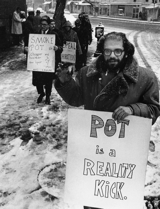 Beat poet Allen Ginsberg criticized punitive narcotics laws and advocated the legalization of marijuana. Outside the Women's House of Detention in Greenwich Village in January 1965, he led this group of protesters to demand the release of prisoners arrested for marijuana use or possession.