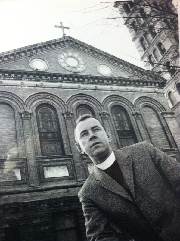 Reverend Howard Moody in front of Judson Memorial Church ca. 1963. Moody was a Greenwich Village community leader active in narcotics rehabilitation. In 1960, he and Village Voice publisher Ed Fancher established the Village Aid and Service Center, a community rehabilitation center for narcotics addicts.