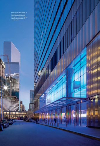 7 WTC's unique curtain wall design gathers light and redirects it, illuminating the streets. Photo: DBOX/Little, Brown and Company
