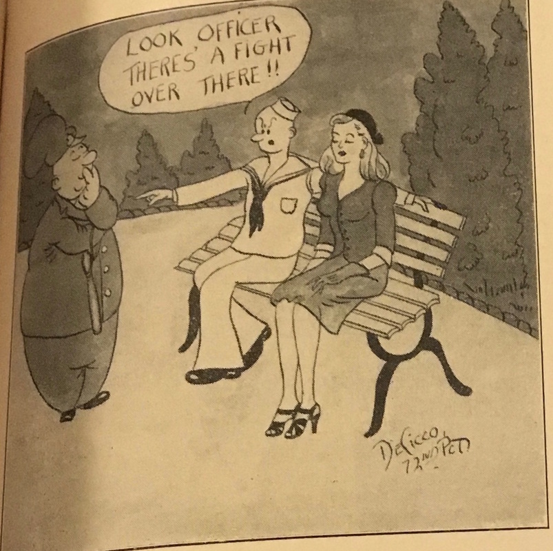 """A cartoon featured in Spring 3100's """"Kop Komiks"""" section, which ran cartoons submitted by members of the NYPD, depicts an officer surveying a sailor and a woman seated together on a bench. The officer views the seated pair with interest, while the sailor attempts to distract his attention. The image, which appeared in the magazine in July 1944, plays on the way officers were encouraged to monitor socializing between single women and men, particularly enlisted men. """"Kop Komiks,"""" Spring 3100, July 1944, 31."""