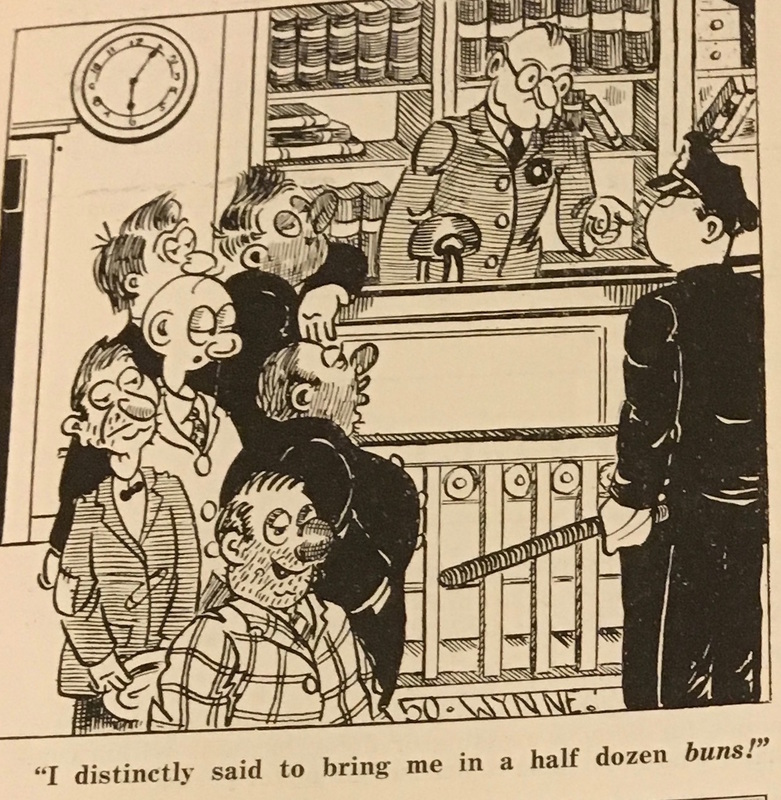 """An illustration in the """"Kop Komiks"""" section from the October 1942 issue of Spring 3100 includes a joke about an officer who confuses """"buns"""" and """"bums."""" The comic relies on a pun, but also makes an implicit statement about the ease with which officers could seize men off the streets of New York City. """"Kop Komiks,"""" Spring 3100, October 1942, 26."""