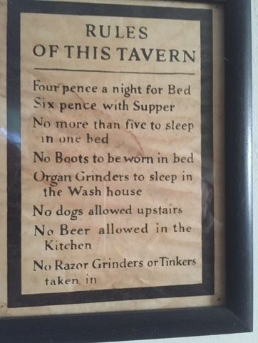 """Sketchy """"rules"""" found in the dining quarters of the Webb House, on the campus of the Oysterponds Historical Society. An eighteenth century structure once used as an inn in Greenport, Webb House provides a living example of what the Clark House might have been like when Walt allegedly stayed there."""