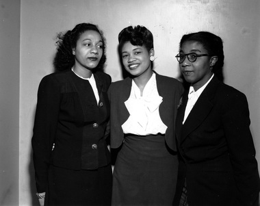 Maida Springer Kemp (on right) with two colleagues.  Undated but judging from hairstyles, it looks as it could be in the 1940s. Source: Flkr