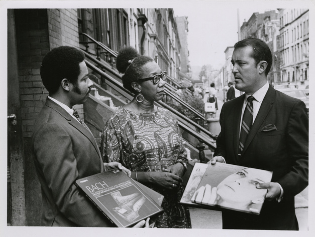 Cyril O. Packwood, librarian & historian; Vinnette Carroll; Don. B. Currant, the American Broadcasting System, date unknown. (Image courtesy Photographs and Prints Division, Schomburg Center for Research in Black Culture, The New York Public Library, Astor, Lenox, and Tilden Foundations)