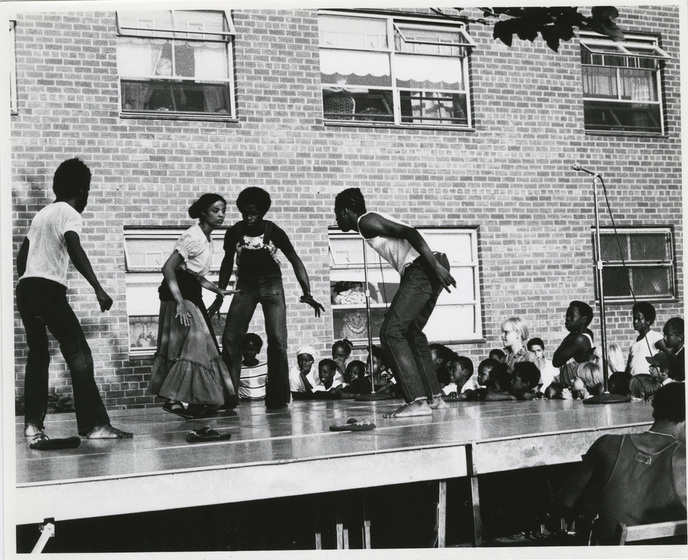 Outdoor performance of the musical Croesus & the Witch, c. 1973  (Image courtesy Photographs and Prints Division, Schomburg Center for Research in Black Culture, The New York Public Library, Astor, Lenox, and Tilden Foundations