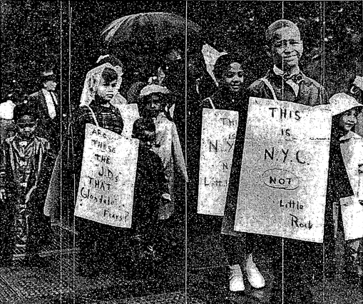 """Black counter-protest of white """"antibusing"""" mothers. Signs read """"This Is N.Y.C. not Little Rock"""" and """"Are These the 'J.D.s' [juvenile delinquents] That Glendale fears?"""" New York Times, June 26, 1959"""